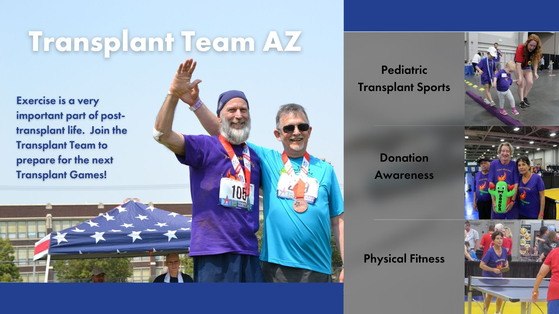 kidney recipient rejoices after receiving gold medal, Transplant Team AZ, exercise is very important post transplant